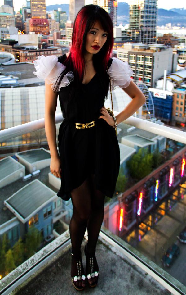 Chanel Rouge Allure Velvet Lipstick, 40 la sensuelle, red lip, white layered chiffon sleeves, vintage black dress, vintage gold detail belt, Roberto Vianni sandals,vintage style, thrift fashion, thrift style