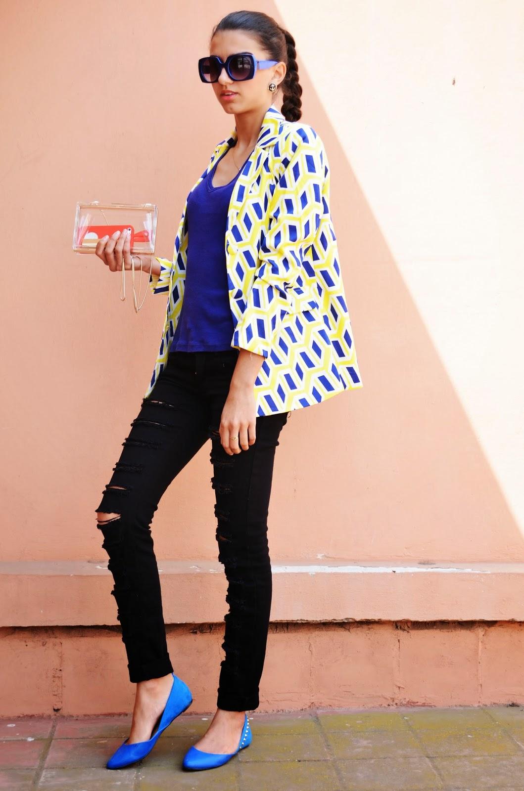 tenue coloré pour l'été idée de tenue pour l'été tenue pas cher au maroc blazer jaune zara chaussures call it spring bleu afaf marwa maroc