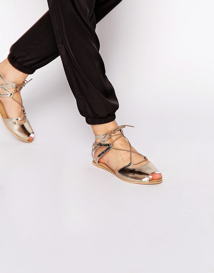 gold lace up flats, new look gold flats,