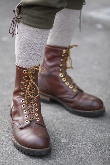 Brown combat boots knickers Seattle street style fashion 
