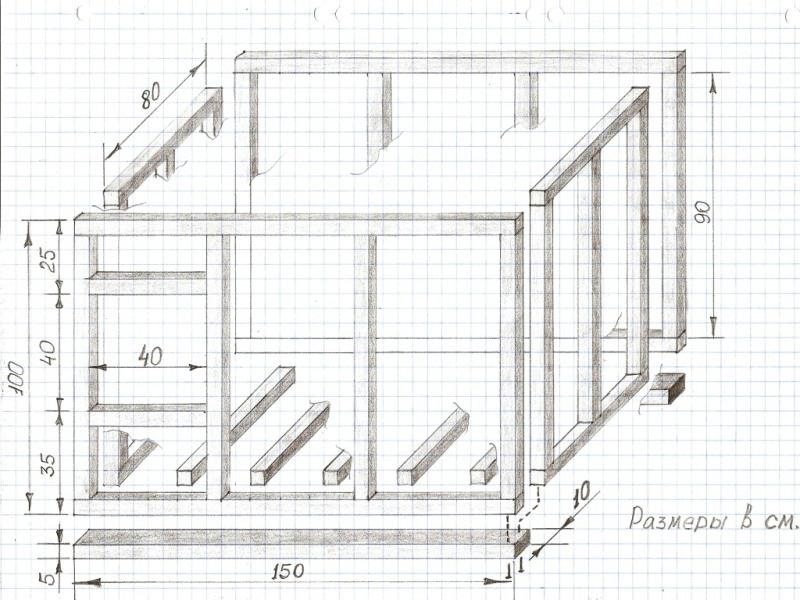 Собачья будка для овчарки чертежи