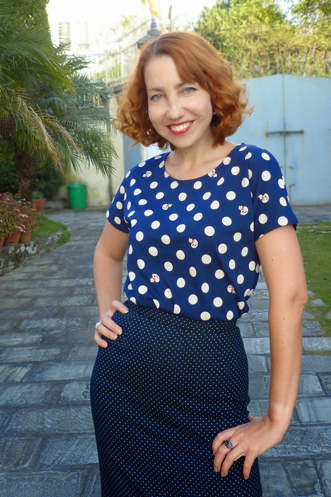 polka dot pencil skirt, polka dot with occasional cats print t-shirt