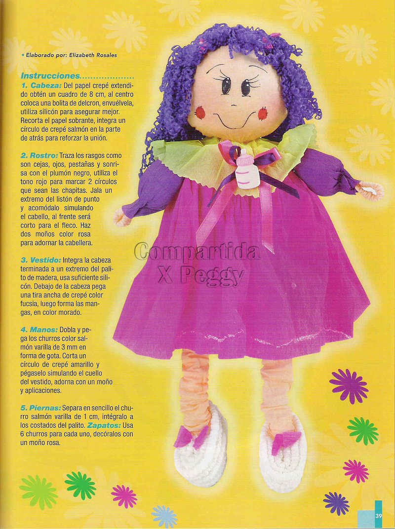 la casa de chichi: Muñeca con Papel Crepe