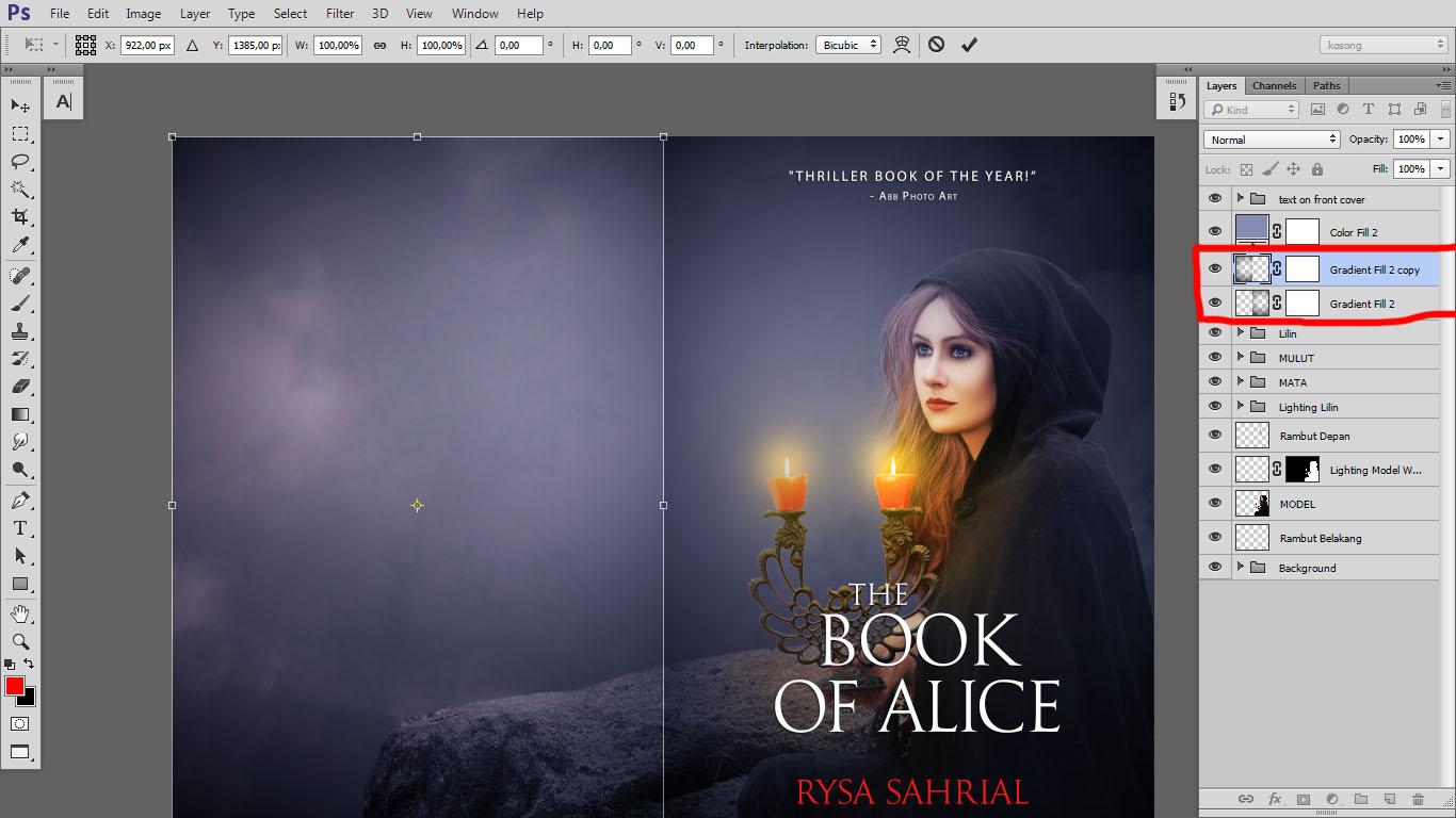 Design cover buku Novel dengan Photoshop CC part2