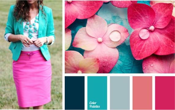 Бирюзовый и розовый цвет сочетание в одежде