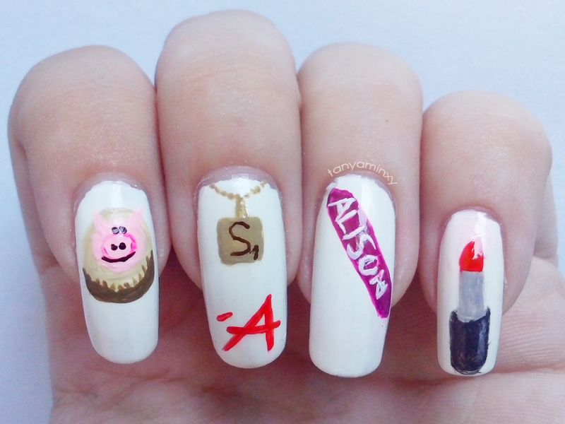 Matching Manicures: Inspired By A TV Series - Pretty Little Liars Nails Inspired By A TV Show Nails PLL Nails Nail Art Nail Designs
