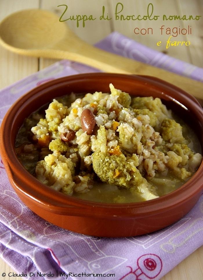 Zuppa di broccolo romano con fagioli e farro
