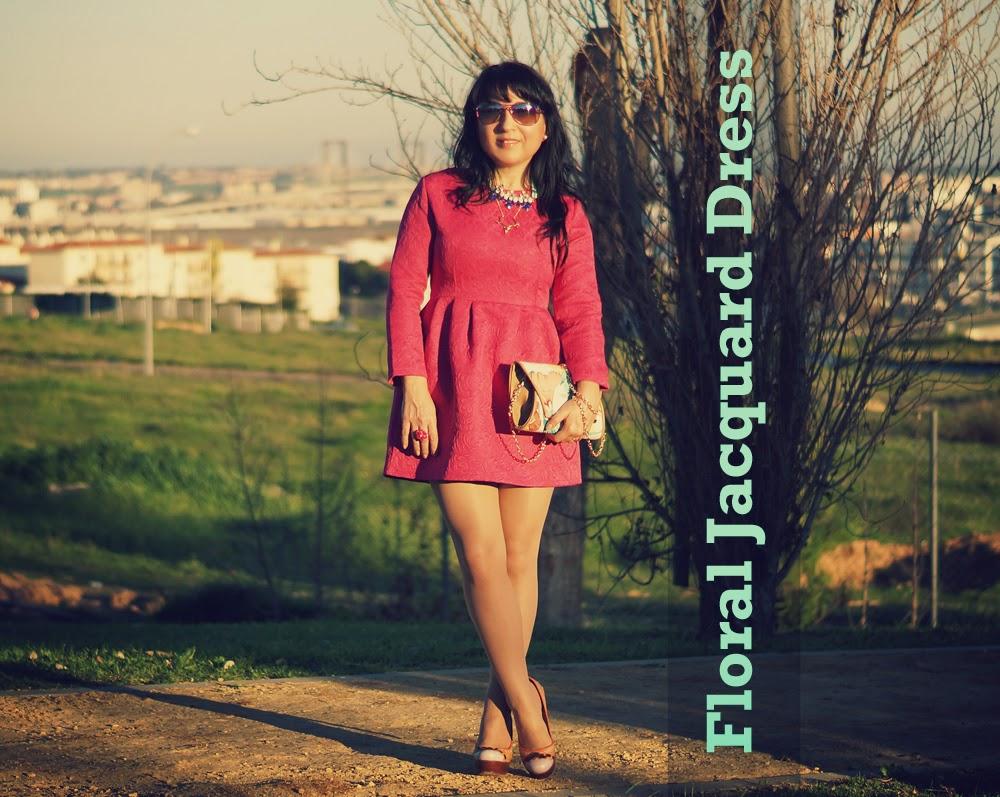 Oasap+Floral+Jacquard+Dress