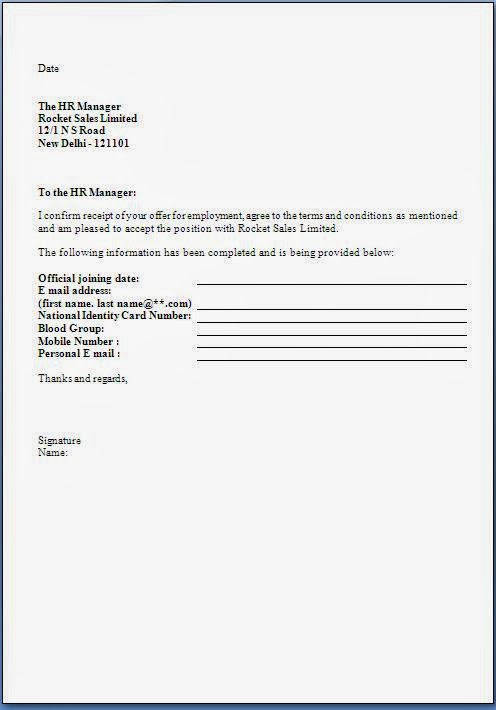 Job Offer Acceptance Letter Format