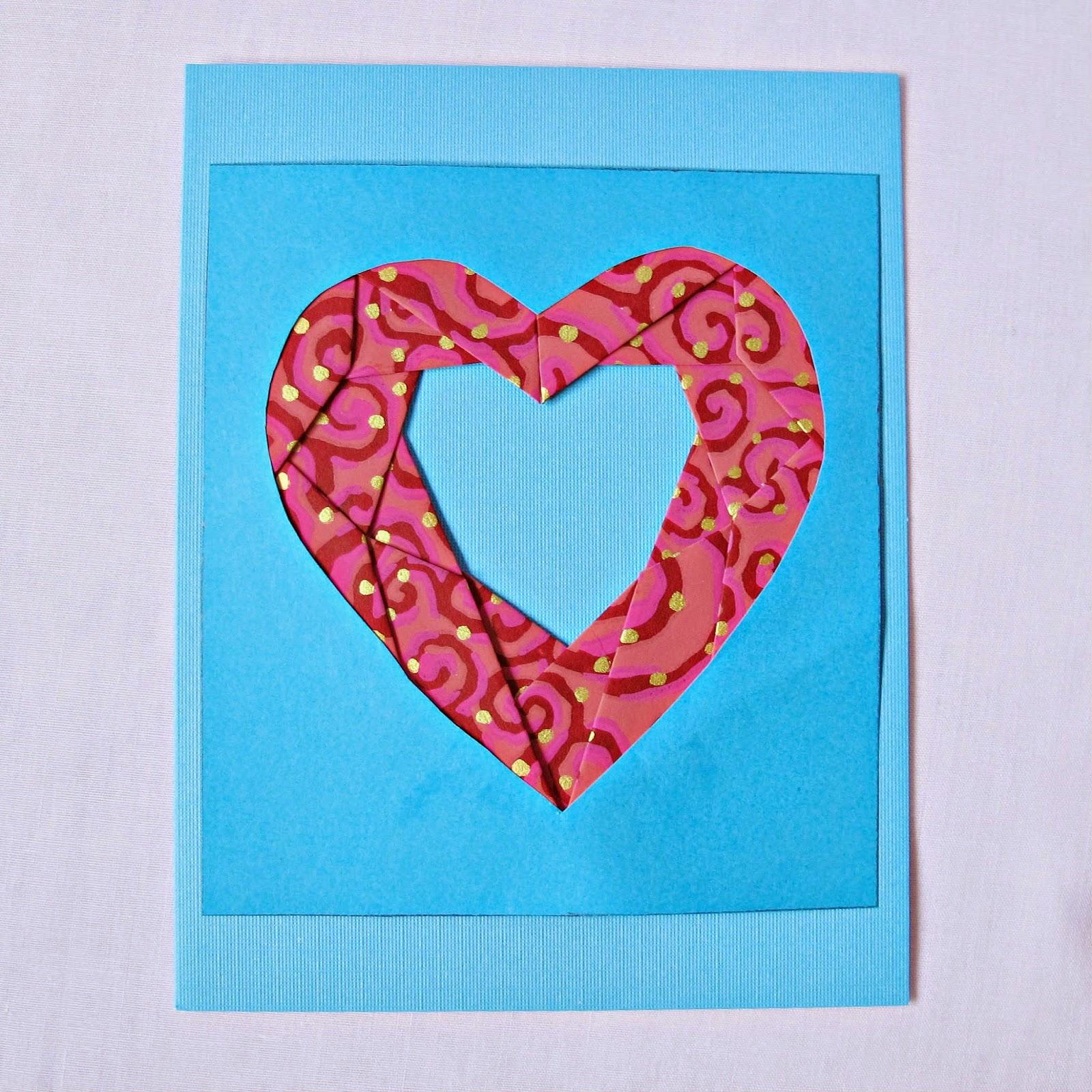 image iris folding heart frame card picture photo corner fold fancy fold