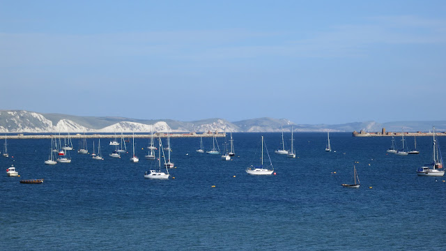 The Purbeck Hills seen across Portland Harbour in Dorset