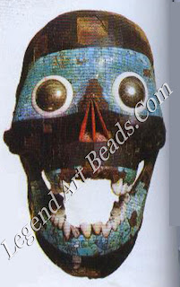 Ancient Skull This mask, shaped around a human skull,was made by the Aztecs,an ancient civilization of Central America.It is made of turquoise and lignum,and may represent Tezcatlipoca, an important Aztec god.