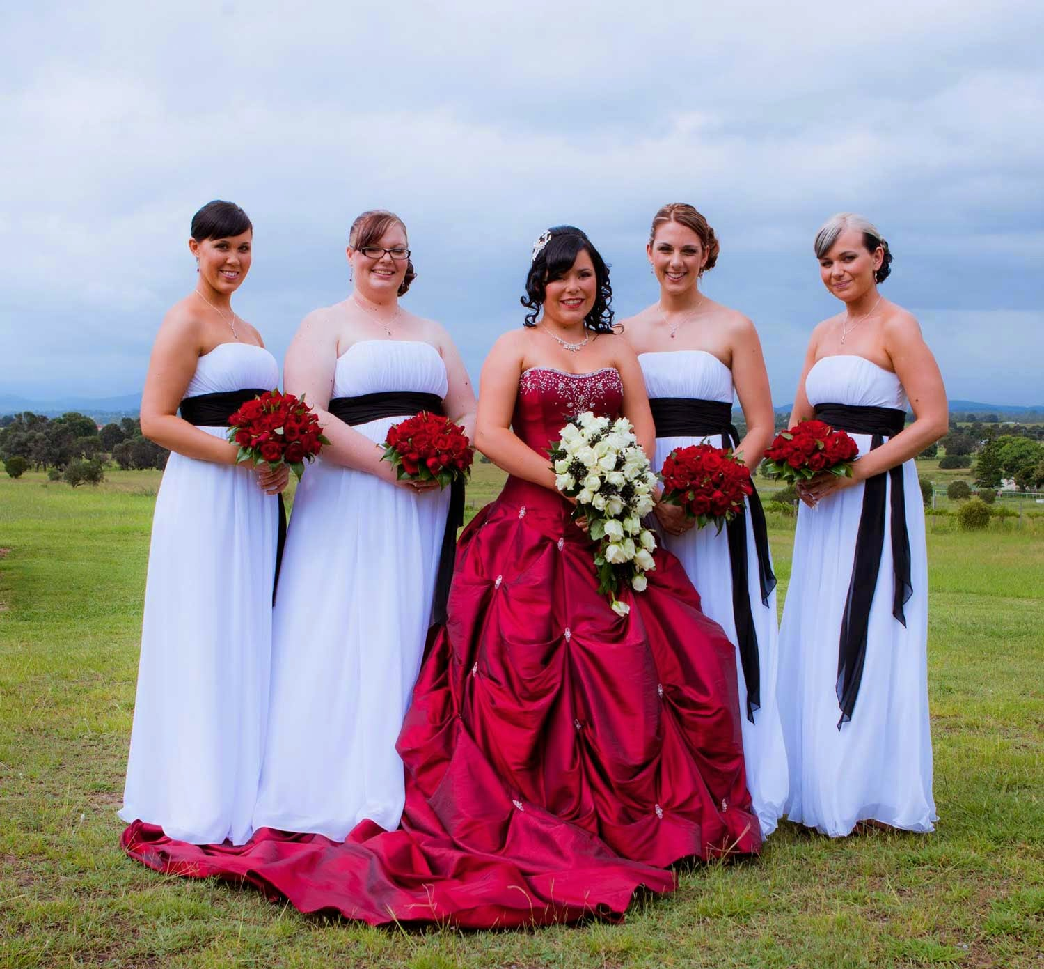 Red Wedding Dress White Bridesmaids Style Design Ideas