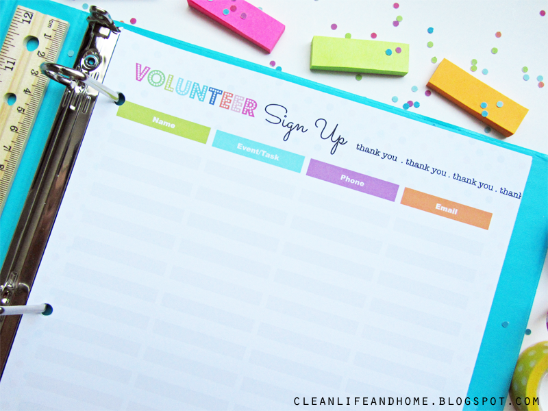 Clean Life and Home August 2014 – Volunteer Sign Up Sheet Printable
