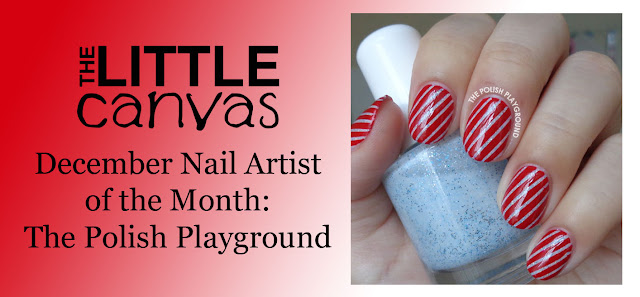 Red Candy Cane Stripes Nail Art