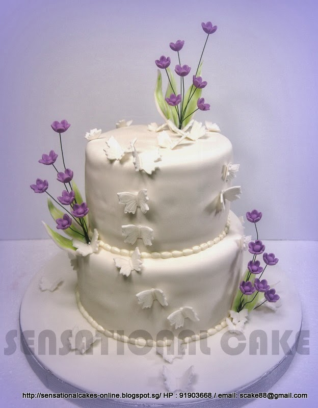 2 TIER WHITE WEDDING CAKE W BUTTERFLIES AND LAVENDER SINGAPORE