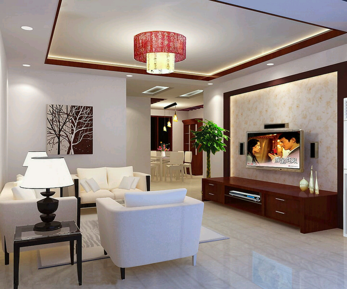 Modern interior decoration living rooms ceiling designs for Modern house living room