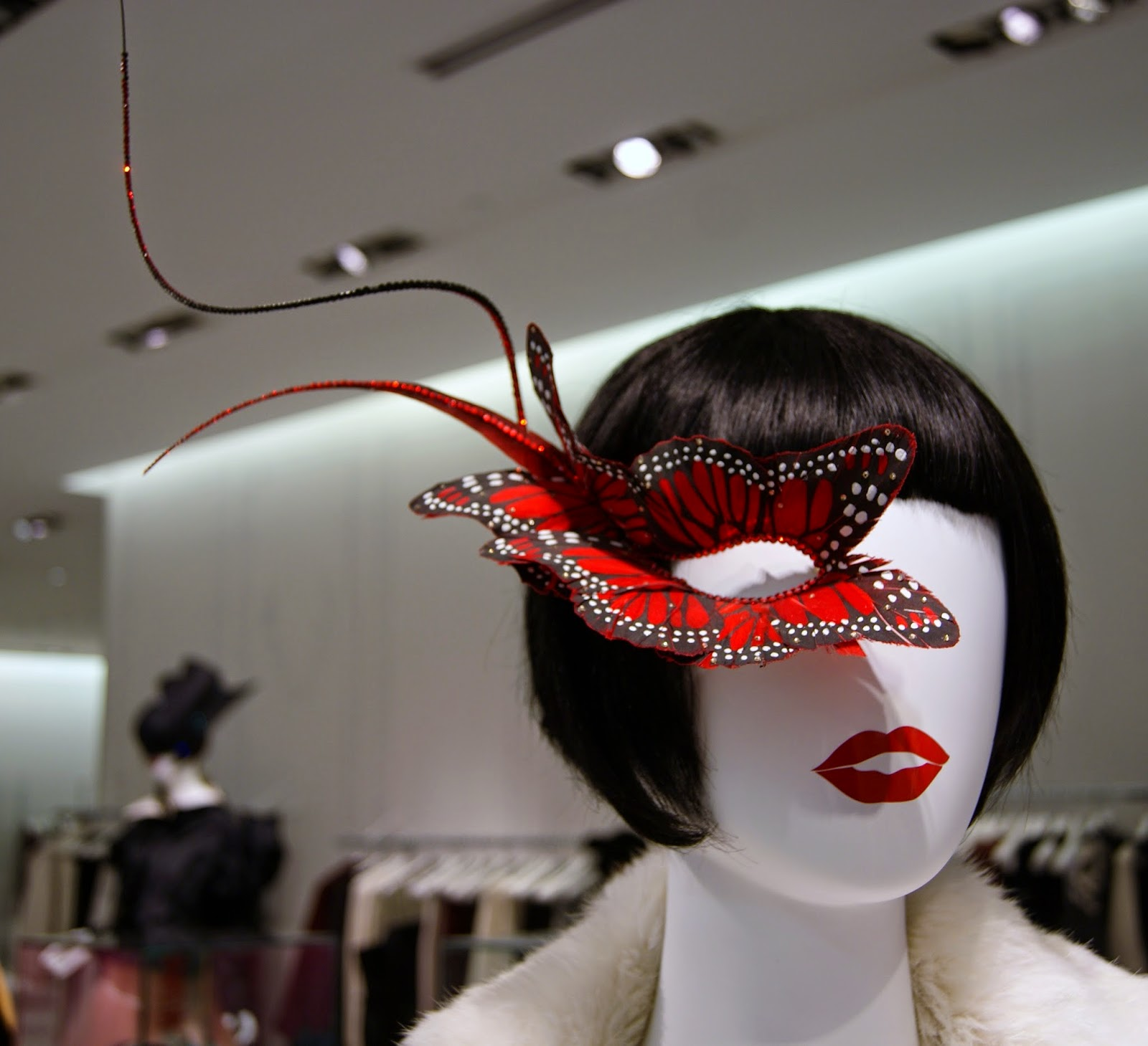 Fashion Blows Exhibit at Hudson's Bay in Toronto, Isabella, Daupne Guinness, Style, Culture, foundation, alexander mcqueen, philip treacy, suicide,the purple scarf, melanie.ps, ontario, canada, the room, red butterfly mask, 2006