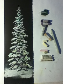 Blue Spruce, pastel painting, winter art