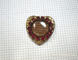 Pink Rhinestone Shakespeare Heart Locket