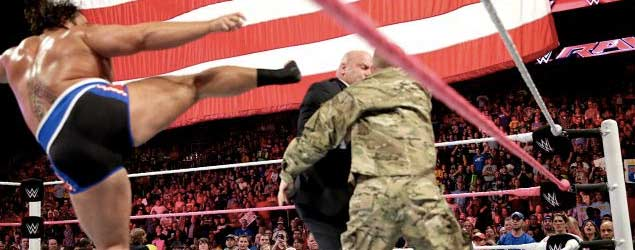 WWE Raw soldier attacked by Rusev