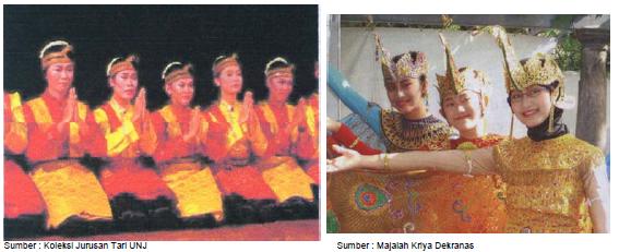 Gambar kiri: Tari Saman Aceh dan gambar kanan: tari merak