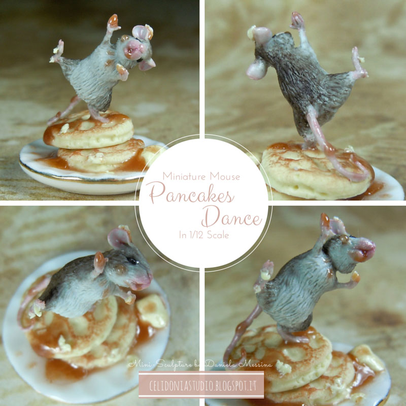 Miniature Mouse Dancing on Pancakes sculpted from polymer clay