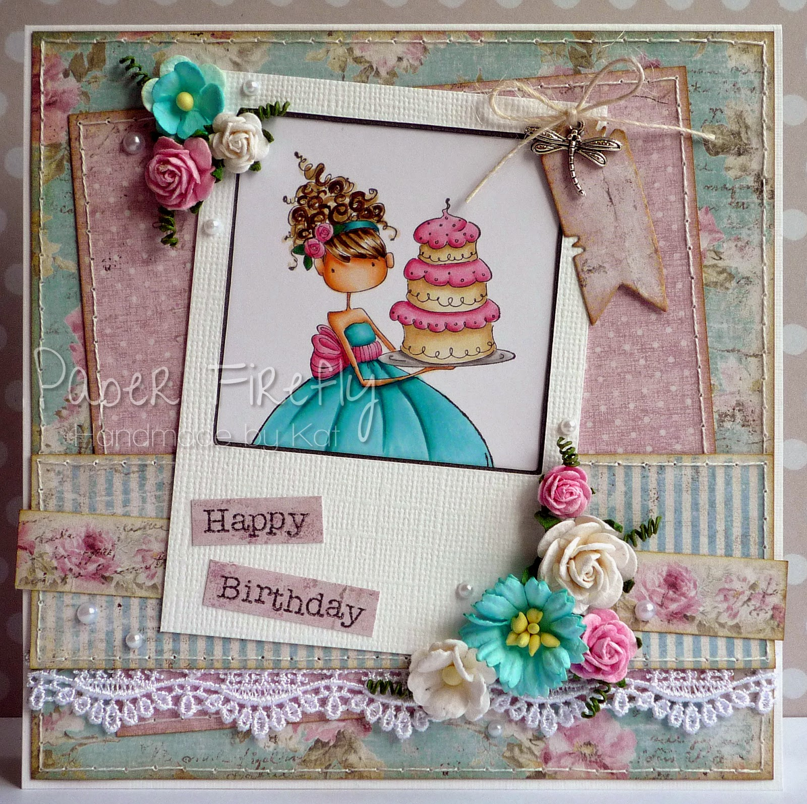 Girly, floral birthday card featuring Stamping Bella 'Ava loves to celebrate'