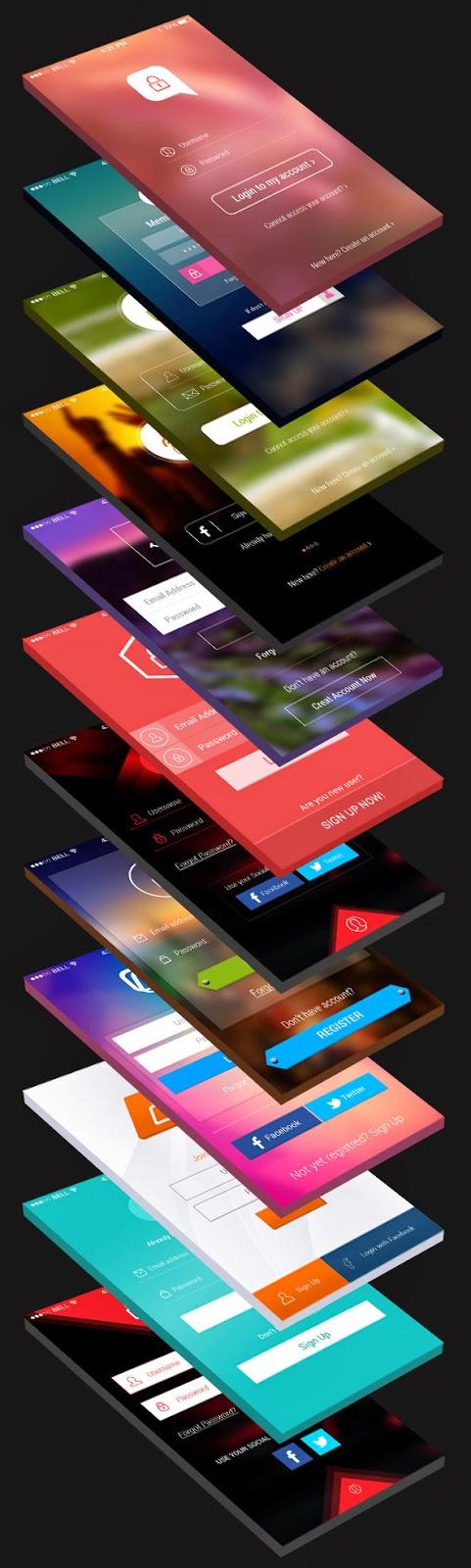 12 Login Screens App UI PSD