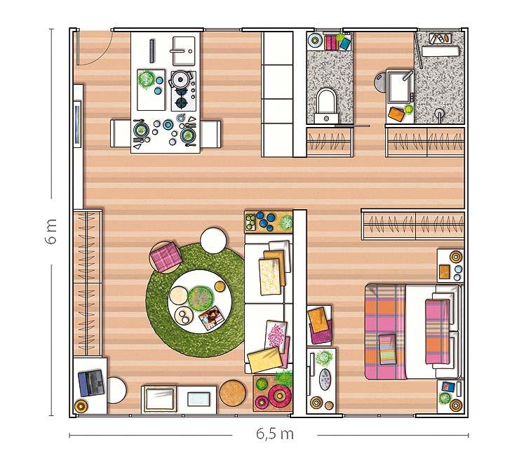 Un appartamento di 40 mq arredamento facile for Plan de la sala de 40m2