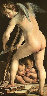 Amor fabricant-se l'arc (Francesco Maria Mazzola)
