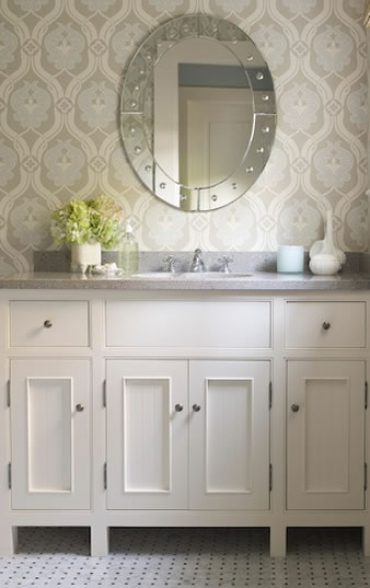 Kelsey m design wallpaper wednesday bathrooms for Bathroom wallpaper