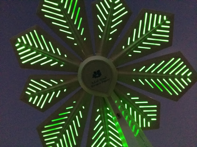 solar palm inside up view. the thin green LEDs are very capable in lighting up the floor