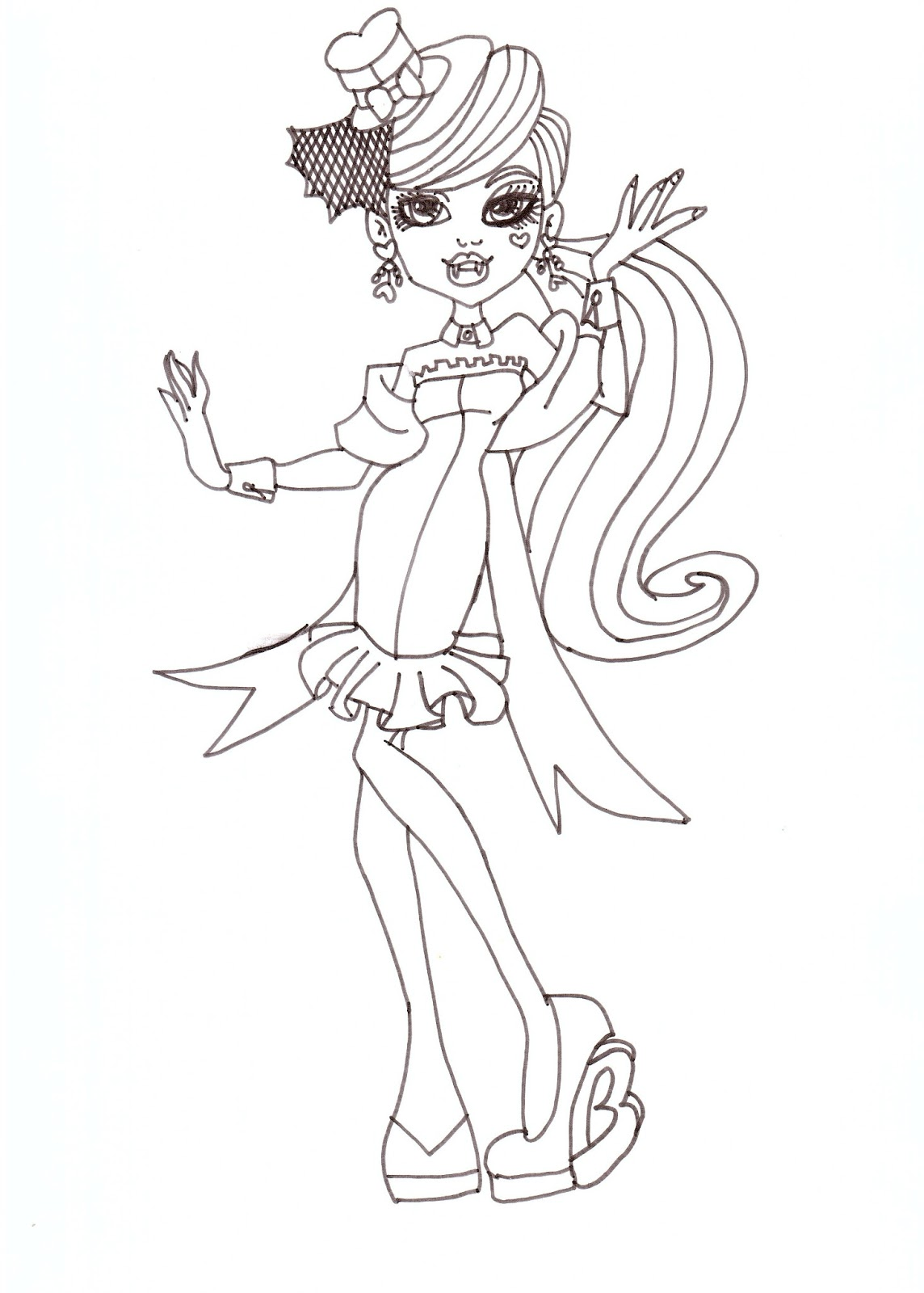 draculaura dawn of the dance coloring sheet - Draculaura Coloring Pages