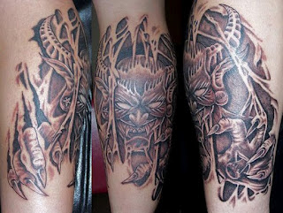 3d tattoo: horned demon