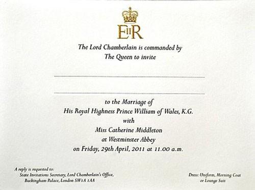 william and kate wedding invitation. william and kate wedding