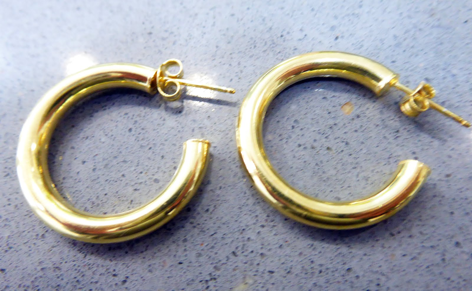 Pendientes de aro de plata dorada