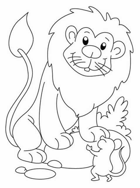 image about The Lion and the Mouse Story Printable named Youngsters Web page: Lion and the Mouse Tale Coloring Webpages 3