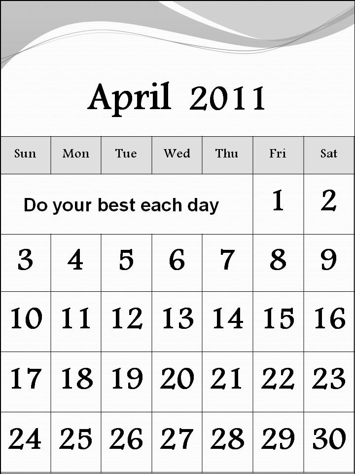 free april 2011 calendar template. april 2011 calendar template.