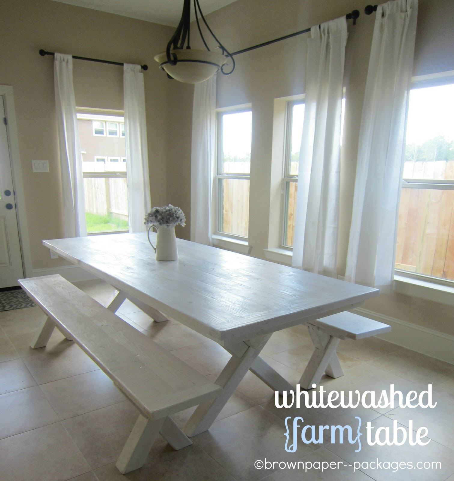 brown paper packages whitewashed farm table