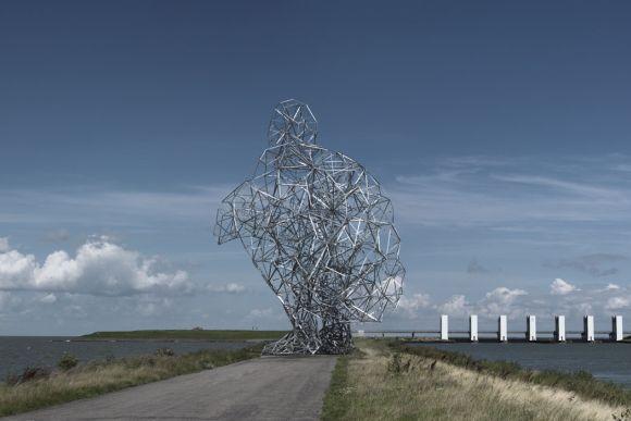 Antony Gormley esculturas e instalações geometricas formando corpos