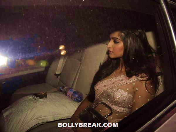 Paparazzi in transparent saree - sitting in car - Sonam kapoor Paparazzi Pic - sitting in Car