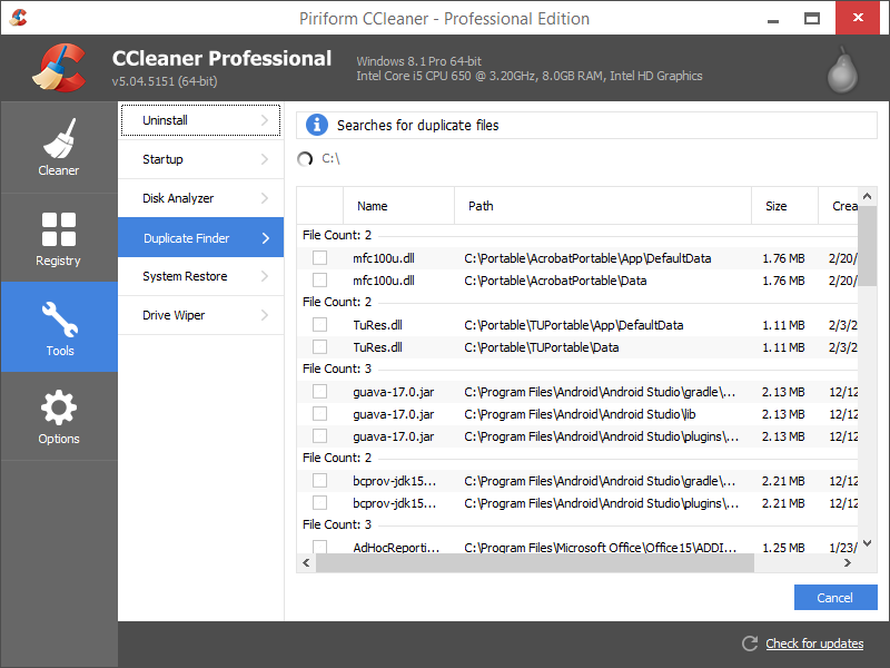 Duplicate File Finder CCleaner