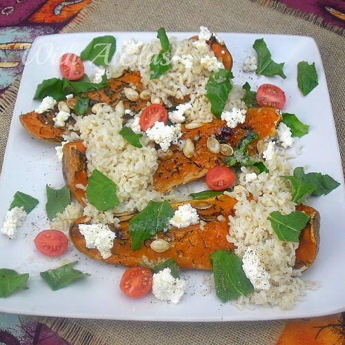 Rosemary Roasted Butternut and Rice (Salad/Side) ~ Deliciously roasted Butternut Squash with Rice, Cheese and Herbs is perfect as a side or as a salad ~ on it's own for lunch or a meatless light dinner #Salads #SideDish #LightDinner #MeatlessDish