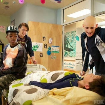 "Photo of four characters in the tv show ""Red Band Society"","
