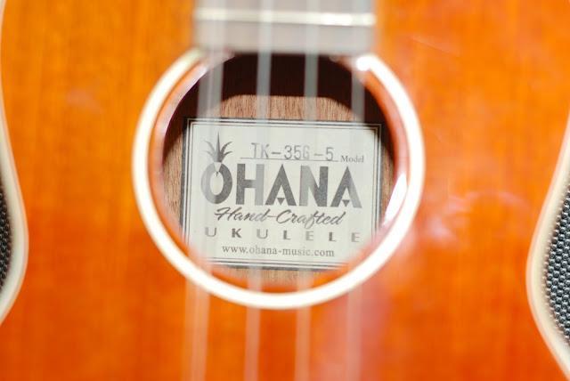 Ohana TK-35G-5 Tenor 5 string ukulele label