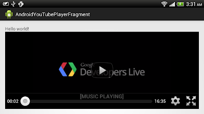 Example to use YouTubePlayerFragment