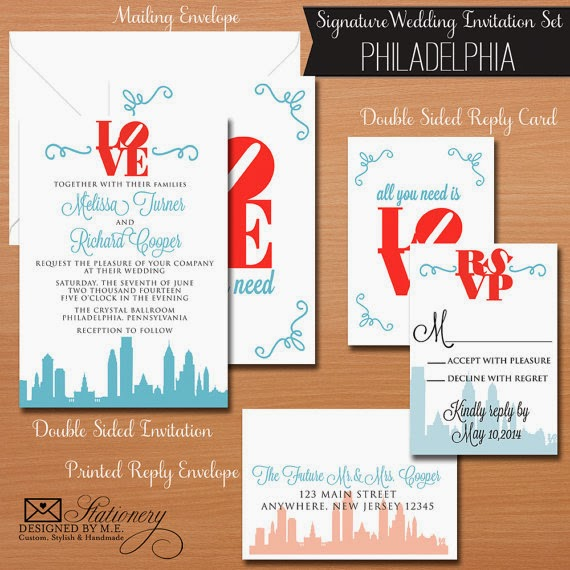 Philadelphia Wedding Invitation by Designed By M.E. Stationery