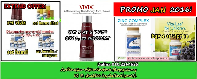 Promosi SHAKLEE JAN 2016. Zink, Vivix, Vitalea for Children, YES Set (Pranatal, Postnatal, Healthy Fitness, Healthy Living)