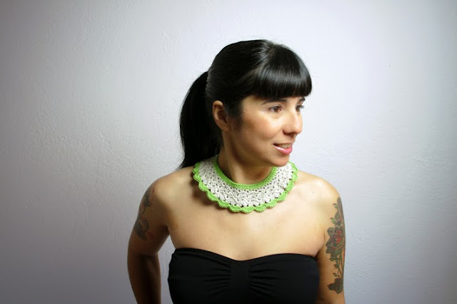 Green & Beige lace collar by BERTH handmade